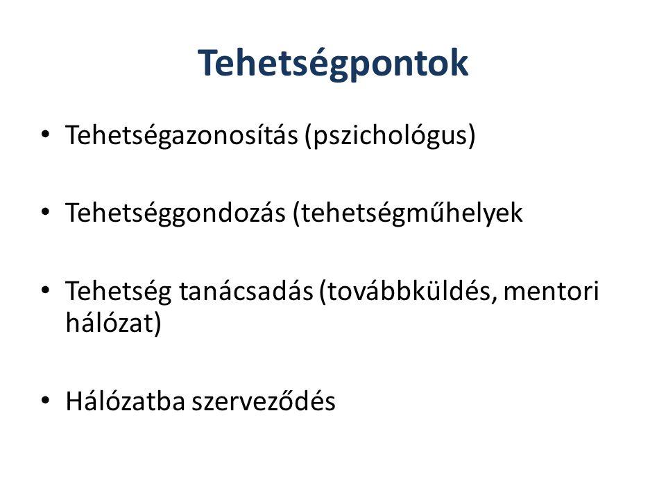 Tehetségpontok Tehetségazonosítás (pszichológus) Tehetséggondozás (tehetségműhelyek Tehetség tanácsadás (továbbküldés, mentori hálózat) Hálózatba szer
