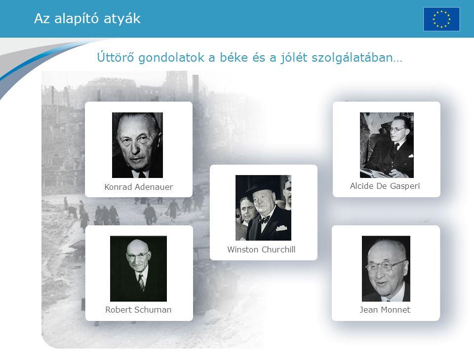 Konrad Adenauer Robert Schuman Winston Churchill Alcide De Gasperi Jean Monnet Úttörő gondolatok a béke és a jólét szolgálatában… Az alapító atyák