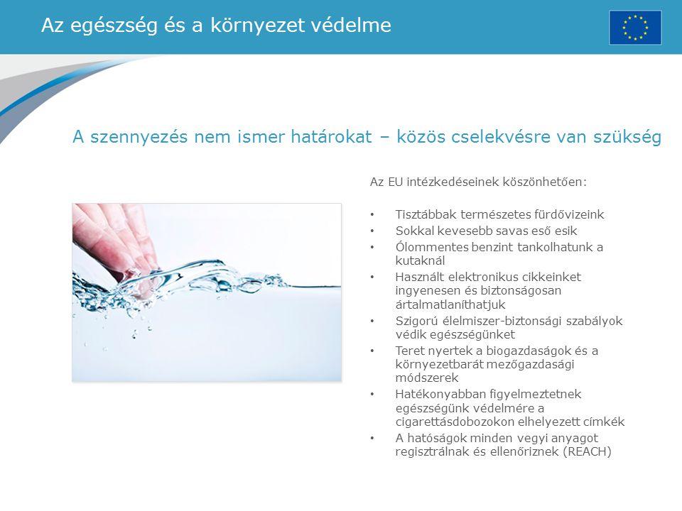 Az egészség és a környezet védelme Az EU intézkedéseinek köszönhetően: Tisztábbak természetes fürdővizeink Sokkal kevesebb savas eső esik Ólommentes b