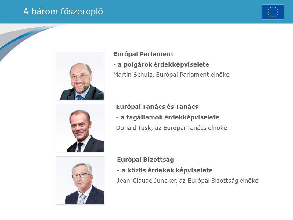 A három főszereplő Európai Parlament - a polgárok érdekképviselete Martin Schulz, Európai Parlament elnöke Európai Tanács és Tanács - a tagállamok érd
