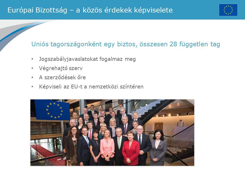 Európai Bizottság – a közös érdekek képviselete Uniós tagországonként egy biztos, összesen 28 független tag Jogszabályjavaslatokat fogalmaz meg Végreh