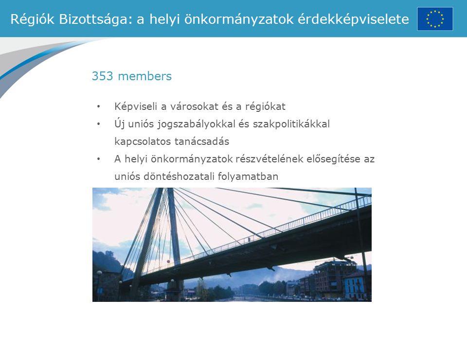 Régiók Bizottsága: a helyi önkormányzatok érdekképviselete Képviseli a városokat és a régiókat Új uniós jogszabályokkal és szakpolitikákkal kapcsolato