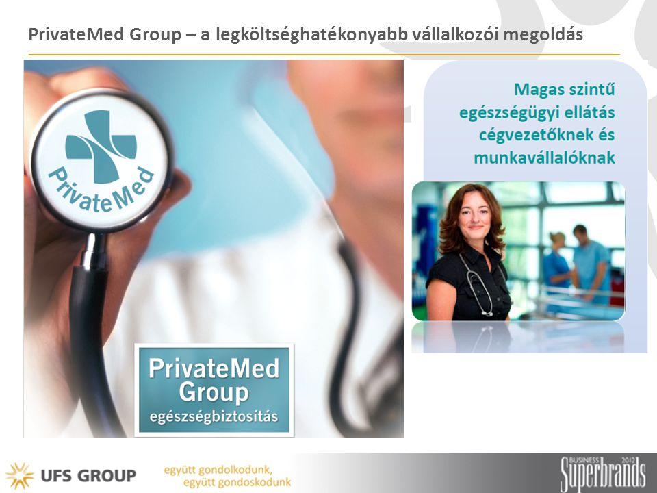 PrivateMed – szolgáltatás résztvevői UFS Group Felmérte a piaci igényeket Úttörő szerepet játszott a megoldás kidolgozásában Advance Medical Szaktudás Nemzetközi tapasztalat UNION Biztosító Biztonság Biztosítói háttér Szolgáltató intézmények Ellátás megvalósítása