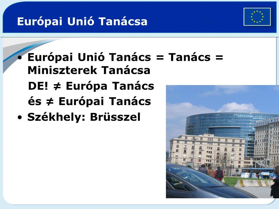 Európai Unió Tanácsa Európai Unió Tanács = Tanács = Miniszterek Tanácsa DE! ≠ Európa Tanács és ≠ Európai Tanács Székhely: Brüsszel