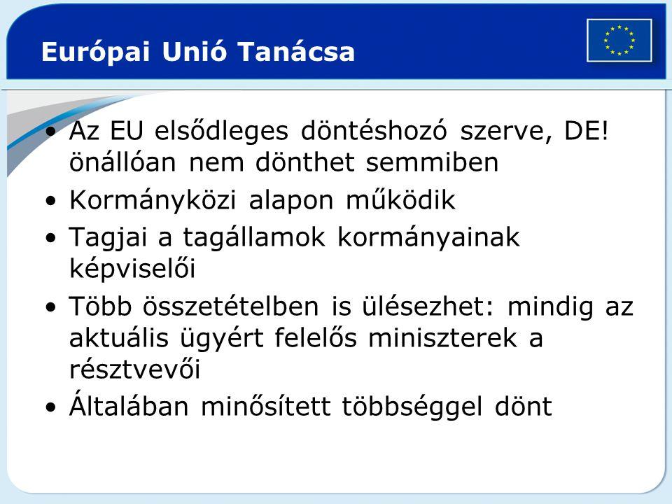 Az EU elsődleges döntéshozó szerve, DE! önállóan nem dönthet semmiben Kormányközi alapon működik Tagjai a tagállamok kormányainak képviselői Több össz
