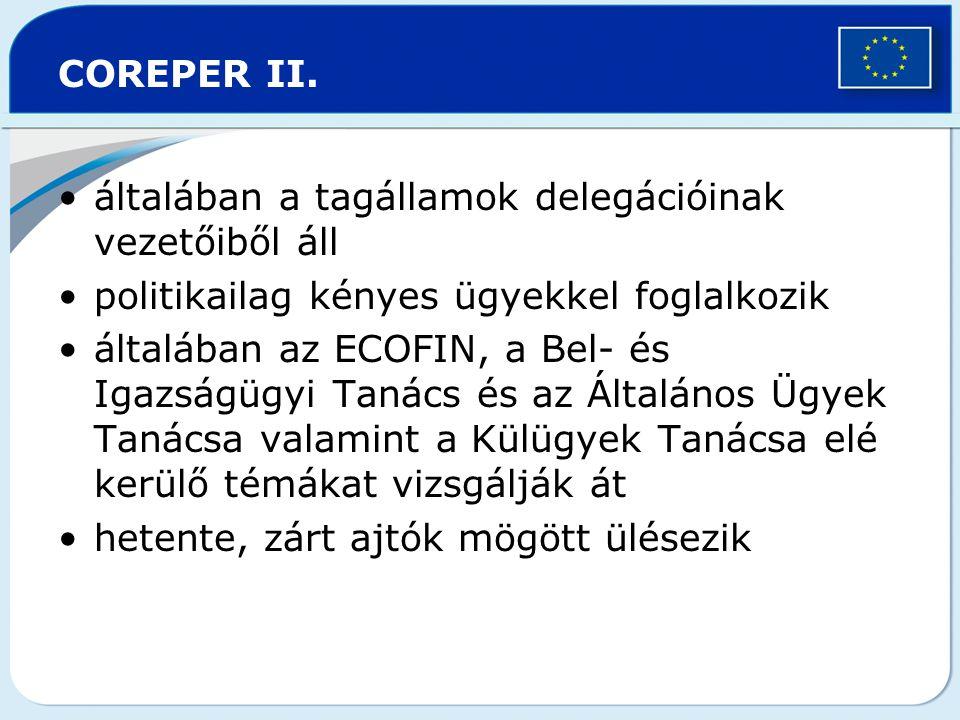 COREPER II. általában a tagállamok delegációinak vezetőiből áll politikailag kényes ügyekkel foglalkozik általában az ECOFIN, a Bel- és Igazságügyi Ta