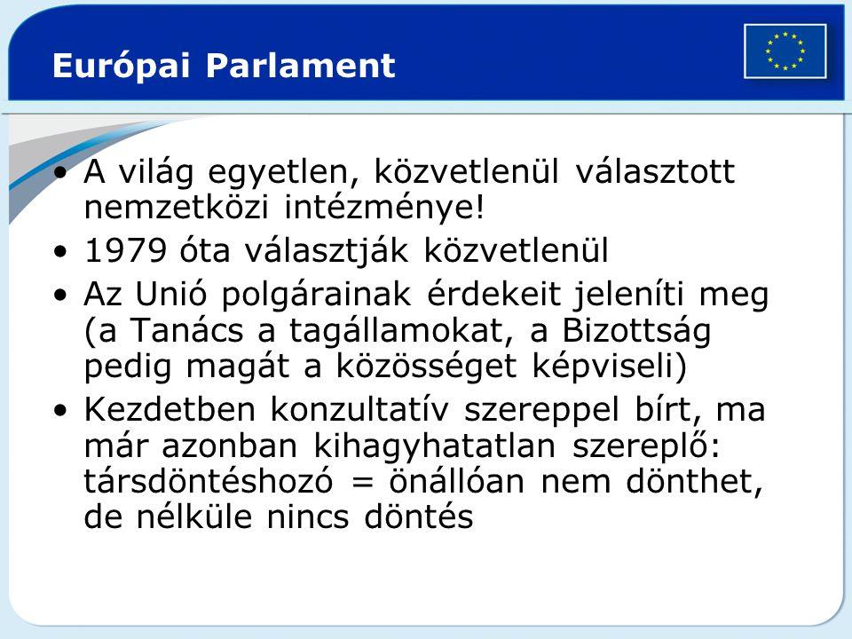 Európai Parlament A világ egyetlen, közvetlenül választott nemzetközi intézménye! 1979 óta választják közvetlenül Az Unió polgárainak érdekeit jelenít