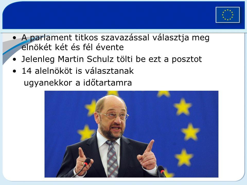 A parlament titkos szavazással választja meg elnökét két és fél évente Jelenleg Martin Schulz tölti be ezt a posztot 14 alelnököt is választanak ugyan