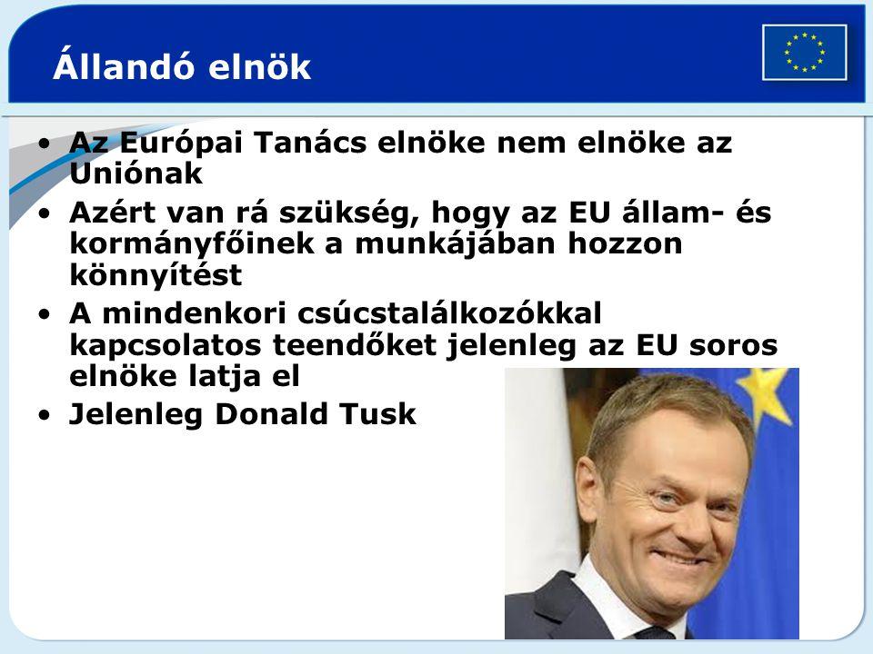 Állandó elnök Az Európai Tanács elnöke nem elnöke az Uniónak Azért van rá szükség, hogy az EU állam- és kormányfőinek a munkájában hozzon könnyítést A