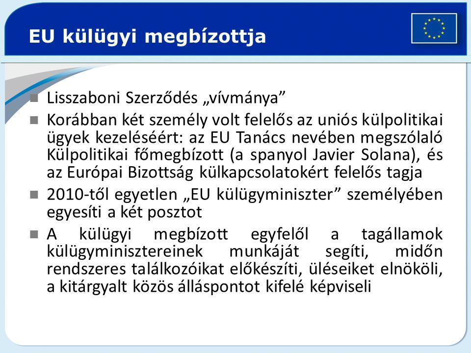 """Lisszaboni Szerződés """"vívmánya"""" Korábban két személy volt felelős az uniós külpolitikai ügyek kezeléséért: az EU Tanács nevében megszólaló Külpolitika"""