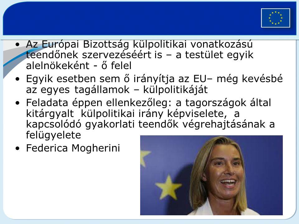 Az Európai Bizottság külpolitikai vonatkozású teendőnek szervezéséért is – a testület egyik alelnökeként - ő felel Egyik esetben sem ő irányítja az EU