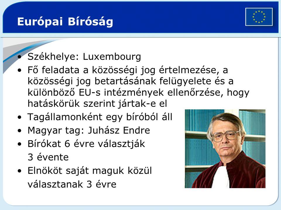 Európai Bíróság Székhelye: Luxembourg Fő feladata a közösségi jog értelmezése, a közösségi jog betartásának felügyelete és a különböző EU-s intézménye