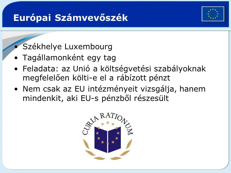 Európai Számvevőszék Székhelye Luxembourg Tagállamonként egy tag Feladata: az Unió a költségvetési szabályoknak megfelelően költi-e el a rábízott pénz