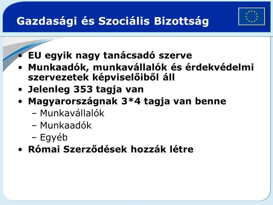 EU egyik nagy tanácsadó szerve Munkaadók, munkavállalók és érdekvédelmi szervezetek képviselőiből áll Jelenleg 353 tagja van Magyarországnak 3*4 tagja