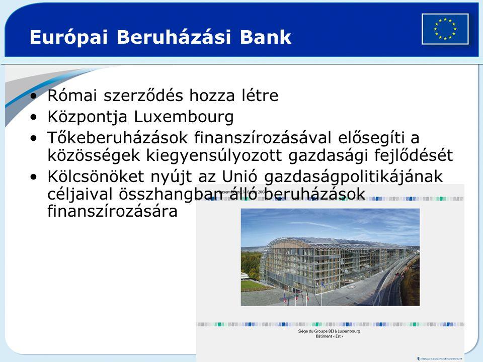 Európai Beruházási Bank Római szerződés hozza létre Központja Luxembourg Tőkeberuházások finanszírozásával elősegíti a közösségek kiegyensúlyozott gaz