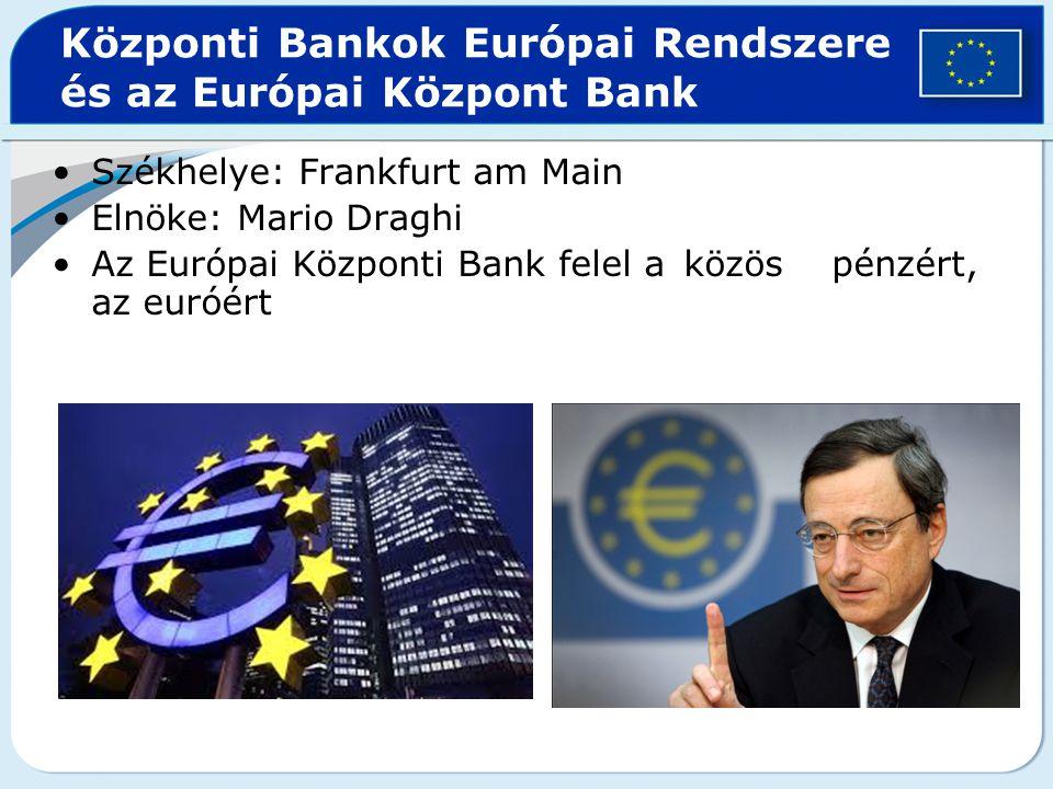Központi Bankok Európai Rendszere és az Európai Központ Bank Székhelye: Frankfurt am Main Elnöke: Mario Draghi Az Európai Központi Bank felel a közös
