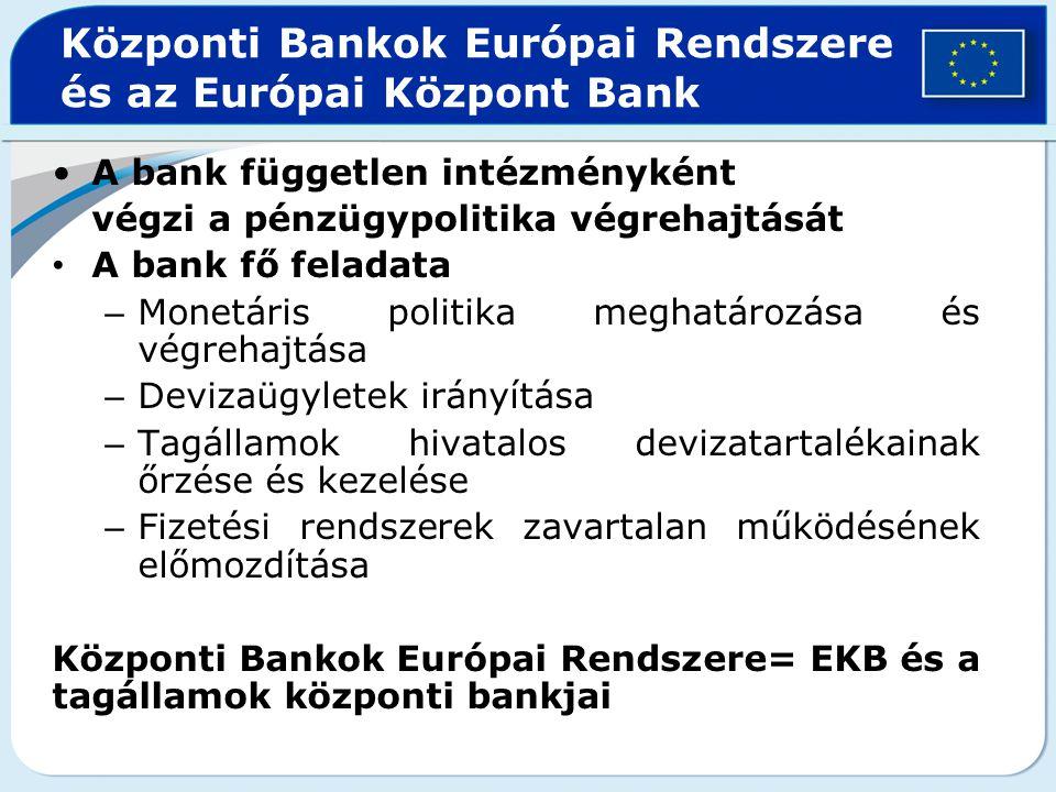 Központi Bankok Európai Rendszere és az Európai Központ Bank A bank független intézményként végzi a pénzügypolitika végrehajtását A bank fő feladata –
