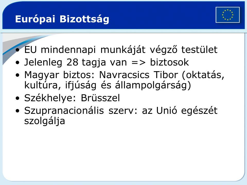 Európai Bizottság EU mindennapi munkáját végző testület Jelenleg 28 tagja van => biztosok Magyar biztos: Navracsics Tibor (oktatás, kultúra, ifjúság é