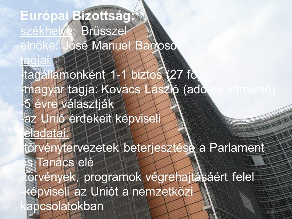 Európai Bizottság: székhelye: Brüsszel elnöke: José Manuel Barroso tagjai: -tagállamonként 1-1 biztos (27 fő) -magyar tagja: Kovács László (adó és vám