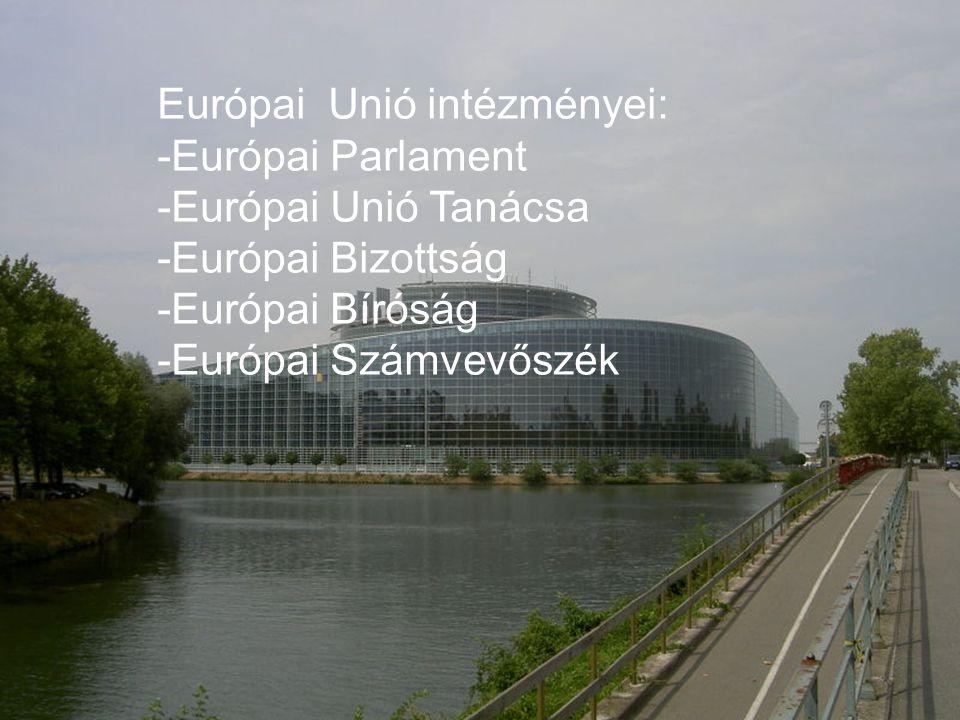 Európai Parlament: székhelye: Strasbourgban és Brüsszelben elnöke:Hans-Gert Pöttering -785 képviselő -képviselőit ötévente az Unió polgárai választják feladatai: -törvények megalkotása -a Bizottság működését felügyeli -elfogadja az Unió költségvetését