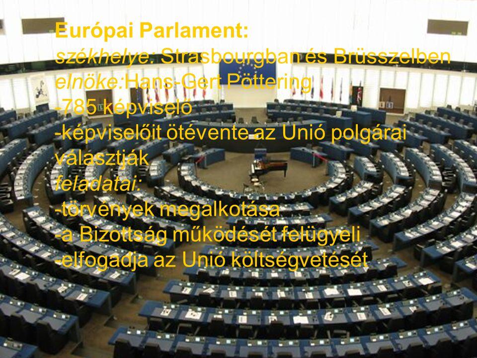 Európai Parlament: székhelye: Strasbourgban és Brüsszelben elnöke:Hans-Gert Pöttering -785 képviselő -képviselőit ötévente az Unió polgárai választják
