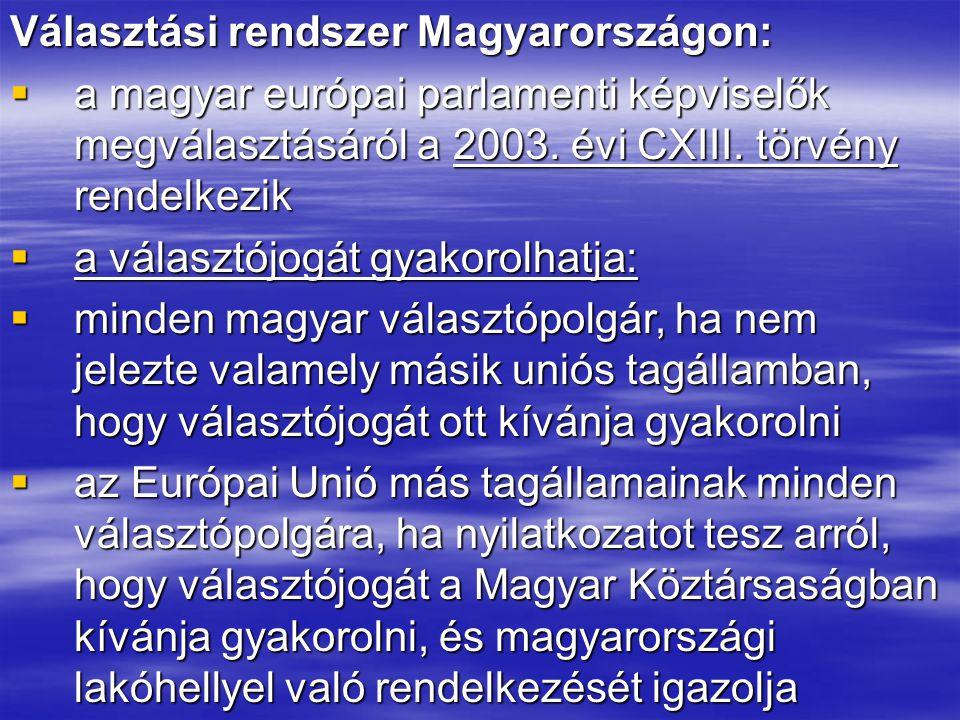Választási rendszer Magyarországon:  a magyar európai parlamenti képviselők megválasztásáról a 2003. évi CXIII. törvény rendelkezik  a választójogát