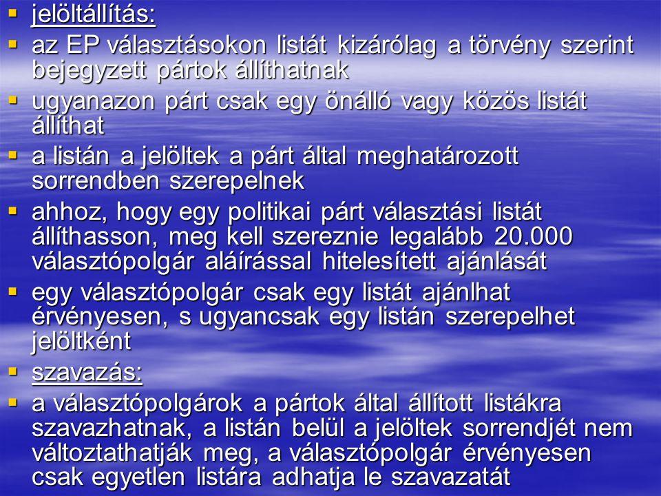 Képviselői helyek megoszlása: Németország: 99 főFranciaország:78 fő Egyesült Királyság:78 fő Olaszország: 78 fő Spanyolország: 54 fő Lengyelország:54 fő Románia: 35 fő Hollandia: 27 fő Görögország: 24 fő Belgium: 24 fő Portugália: 24 főCsehország:24 fő Magyarország: 24 főSvédország:19 fő Ausztria: 18 főBulgária:18 fő Szlovákia: 16 főDánia:14 fő Finnország: 14 főÍrország:13 fő Litvánia: 13 főLettország: 9 fő Szlovénia: 7 főÉsztország: 6 fő Ciprus: 6 főLuxemburg: 6 fő Málta: 5 fő