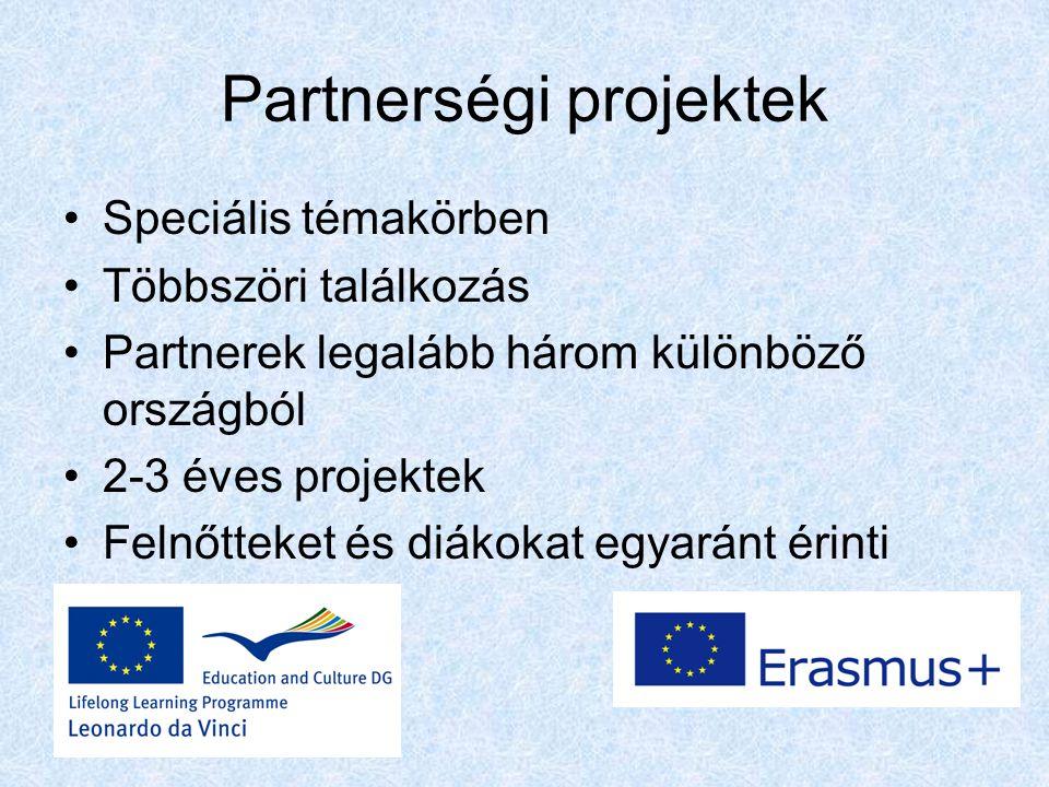 Partnerségi projektek Speciális témakörben Többszöri találkozás Partnerek legalább három különböző országból 2-3 éves projektek Felnőtteket és diákokat egyaránt érinti