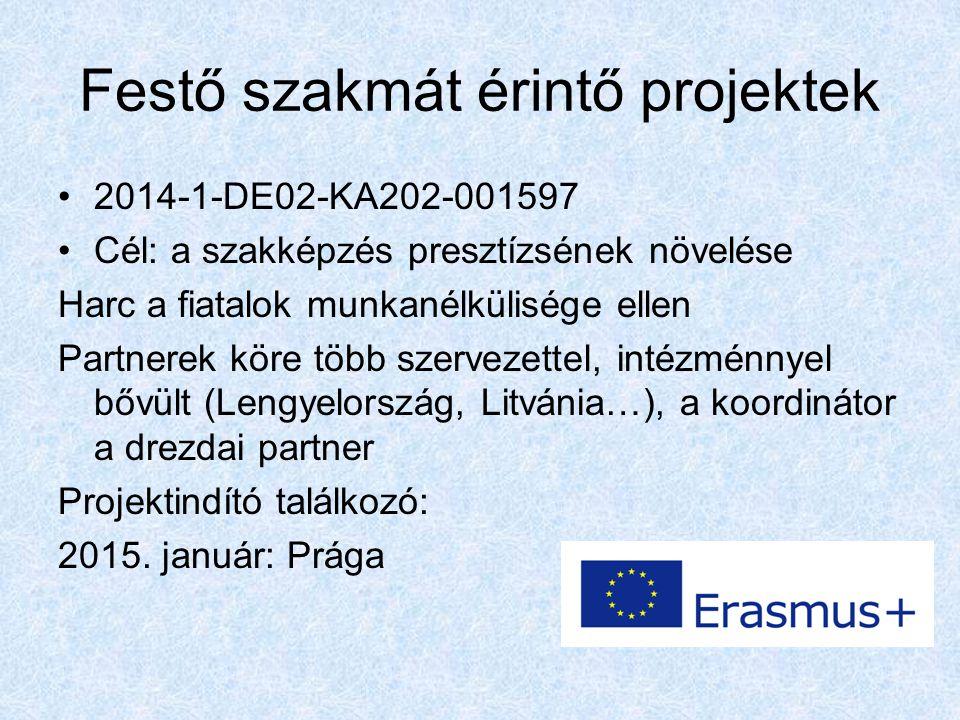 Festő szakmát érintő projektek 2014-1-DE02-KA202-001597 Cél: a szakképzés presztízsének növelése Harc a fiatalok munkanélkülisége ellen Partnerek köre több szervezettel, intézménnyel bővült (Lengyelország, Litvánia…), a koordinátor a drezdai partner Projektindító találkozó: 2015.