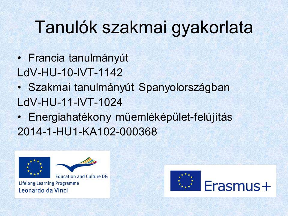 Tanulók szakmai gyakorlata Francia tanulmányút LdV-HU-10-IVT-1142 Szakmai tanulmányút Spanyolországban LdV-HU-11-IVT-1024 Energiahatékony műemléképület-felújítás 2014-1-HU1-KA102-000368