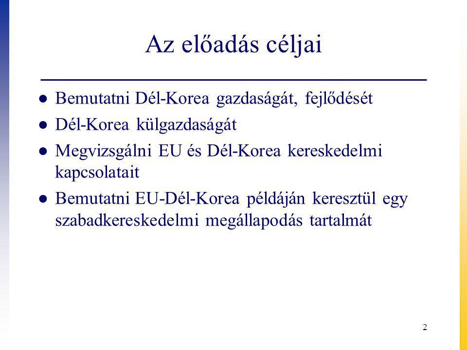 Az előadás céljai ● Bemutatni Dél-Korea gazdaságát, fejlődését ● Dél-Korea külgazdaságát ● Megvizsgálni EU és Dél-Korea kereskedelmi kapcsolatait ● Bemutatni EU-Dél-Korea példáján keresztül egy szabadkereskedelmi megállapodás tartalmát 2
