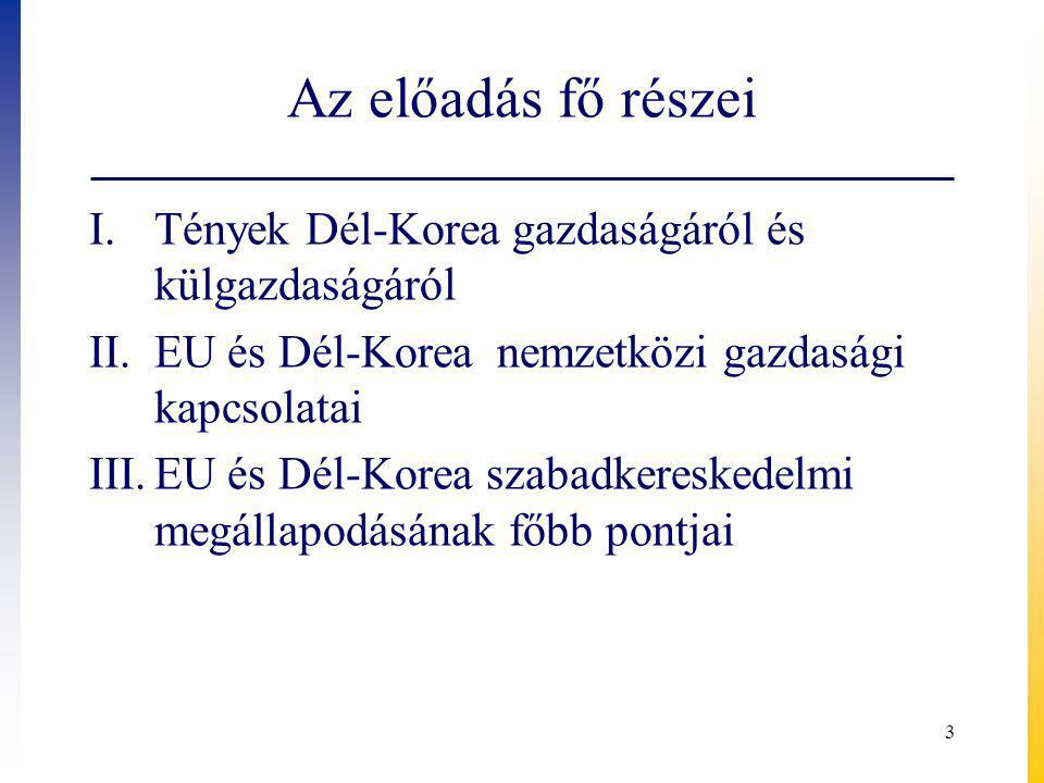 Az előadás fő részei I.Tények Dél-Korea gazdaságáról és külgazdaságáról II.EU és Dél-Korea nemzetközi gazdasági kapcsolatai III.EU és Dél-Korea szabadkereskedelmi megállapodásának főbb pontjai 3
