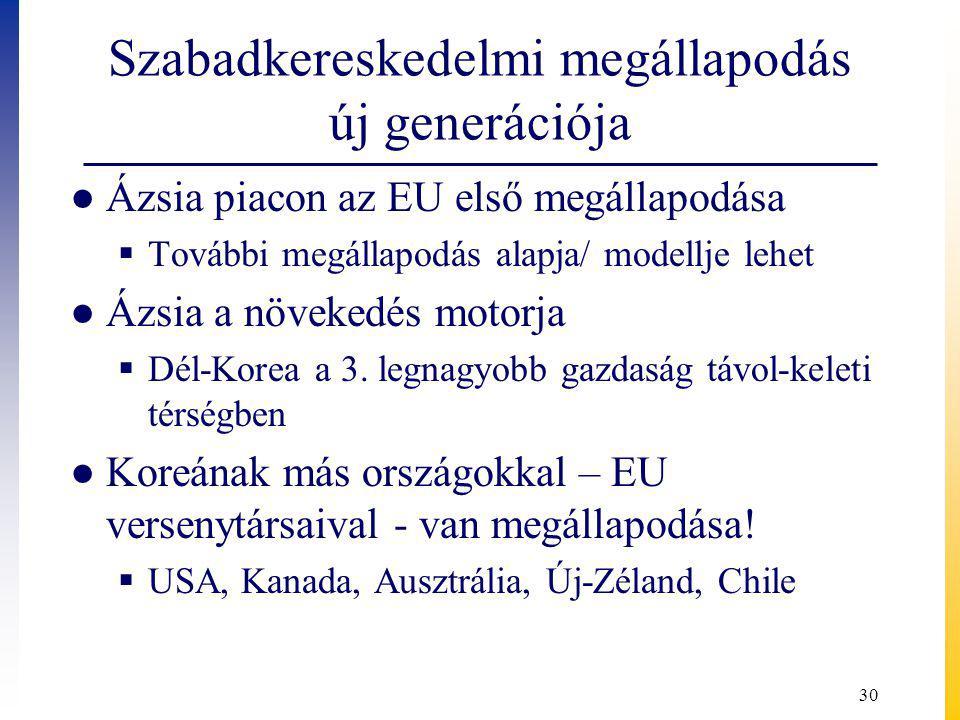 Szabadkereskedelmi megállapodás új generációja ● Ázsia piacon az EU első megállapodása  További megállapodás alapja/ modellje lehet ● Ázsia a növekedés motorja  Dél-Korea a 3.
