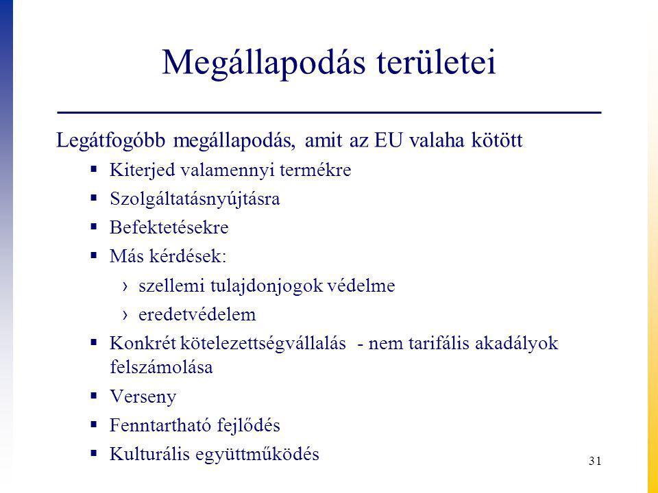 Megállapodás területei Legátfogóbb megállapodás, amit az EU valaha kötött  Kiterjed valamennyi termékre  Szolgáltatásnyújtásra  Befektetésekre  Más kérdések: › szellemi tulajdonjogok védelme › eredetvédelem  Konkrét kötelezettségvállalás - nem tarifális akadályok felszámolása  Verseny  Fenntartható fejlődés  Kulturális együttműködés 31