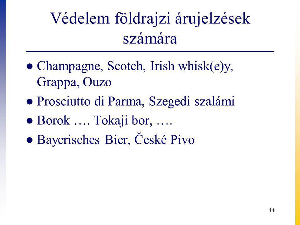 Védelem földrajzi árujelzések számára ● Champagne, Scotch, Irish whisk(e)y, Grappa, Ouzo ● Prosciutto di Parma, Szegedi szalámi ● Borok ….
