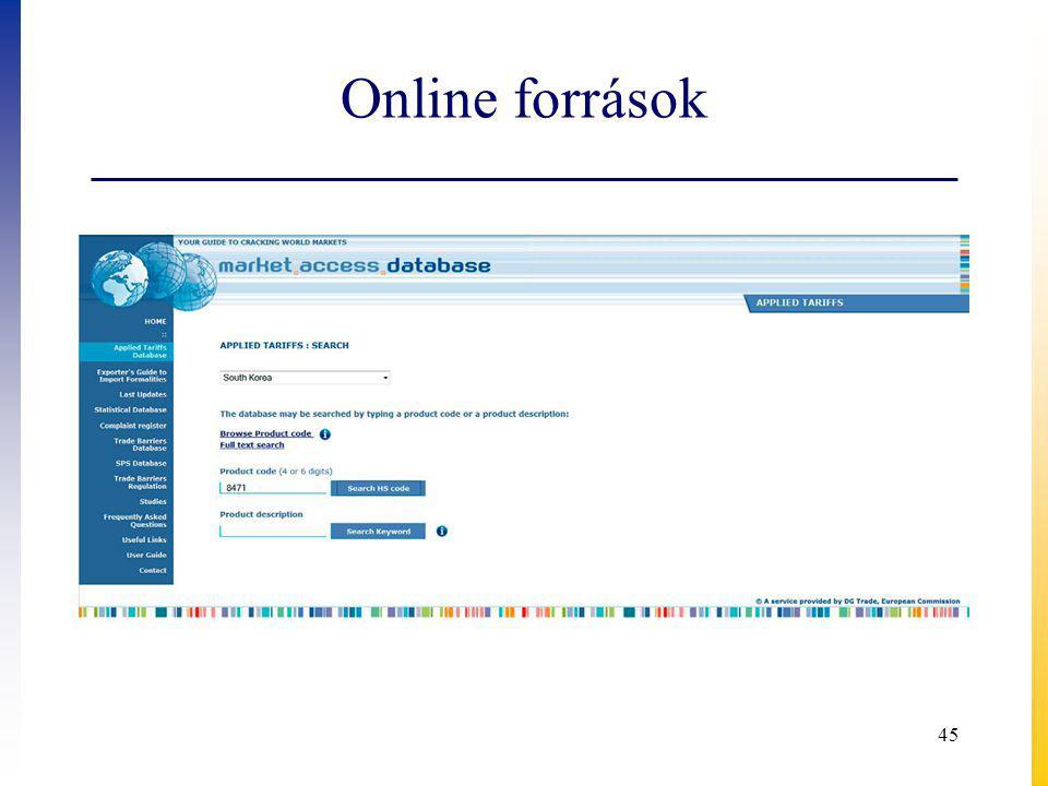 Online források 45