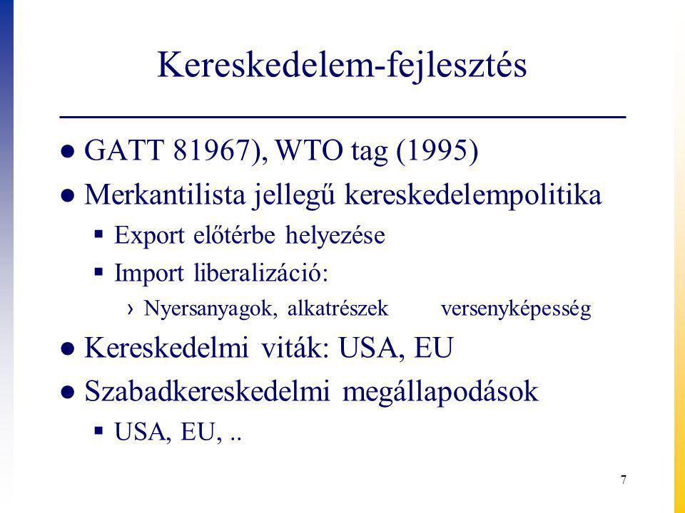 Kereskedelem-fejlesztés ● GATT 81967), WTO tag (1995) ● Merkantilista jellegű kereskedelempolitika  Export előtérbe helyezése  Import liberalizáció: › Nyersanyagok, alkatrészek versenyképesség ● Kereskedelmi viták: USA, EU ● Szabadkereskedelmi megállapodások  USA, EU,..