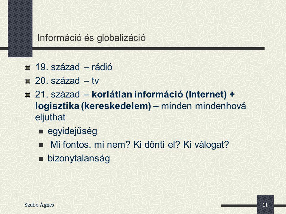 Szabó Ágnes11 Információ és globalizáció 19. század – rádió 20. század – tv 21. század – korlátlan információ (Internet) + logisztika (kereskedelem) –