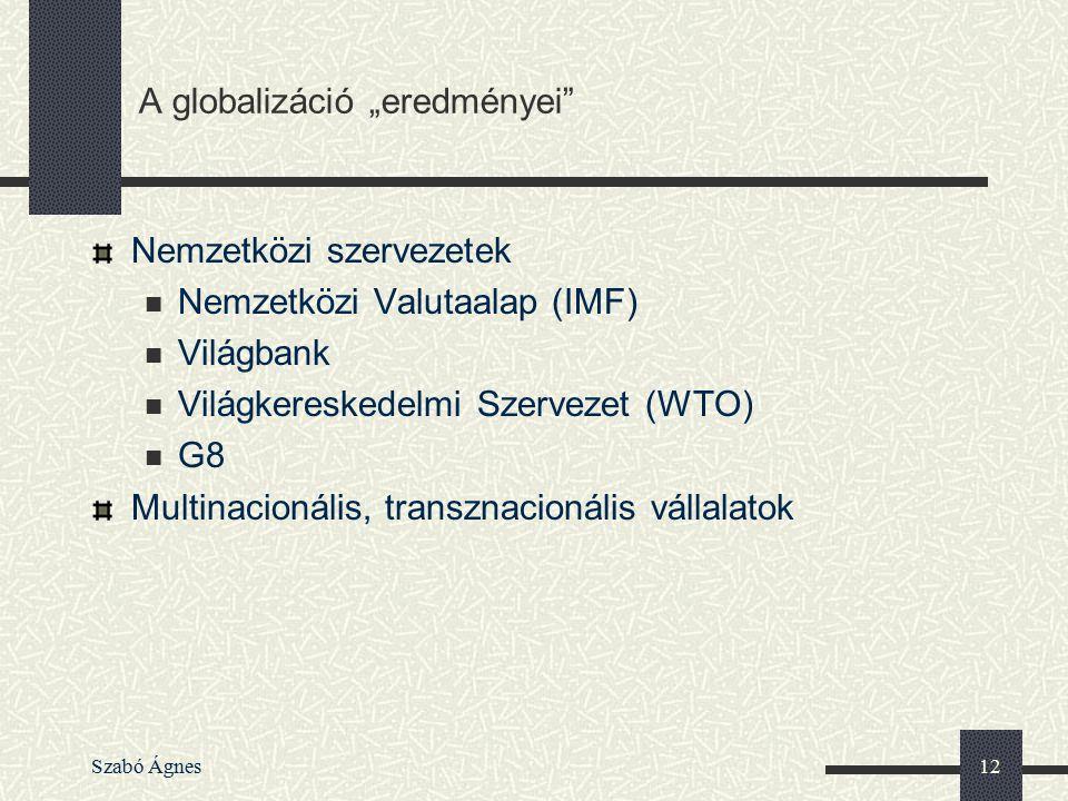 Szabó Ágnes12 Nemzetközi szervezetek Nemzetközi Valutaalap (IMF) Világbank Világkereskedelmi Szervezet (WTO) G8 Multinacionális, transznacionális váll