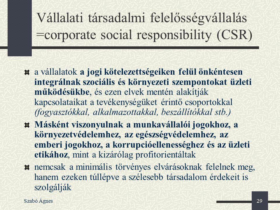 Szabó Ágnes29 Vállalati társadalmi felelősségvállalás =corporate social responsibility (CSR) a vállalatok a jogi kötelezettségeiken felül önkéntesen i