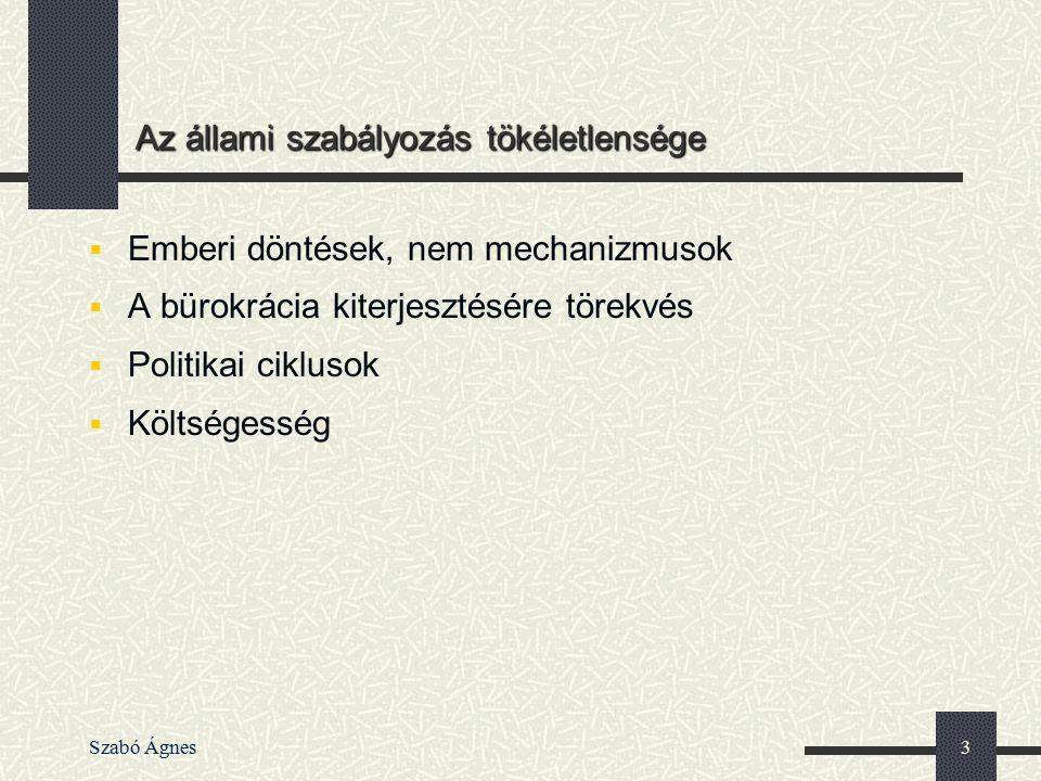 Szabó Ágnes3 Az állami szabályozás tökéletlensége  Emberi döntések, nem mechanizmusok  A bürokrácia kiterjesztésére törekvés  Politikai ciklusok 