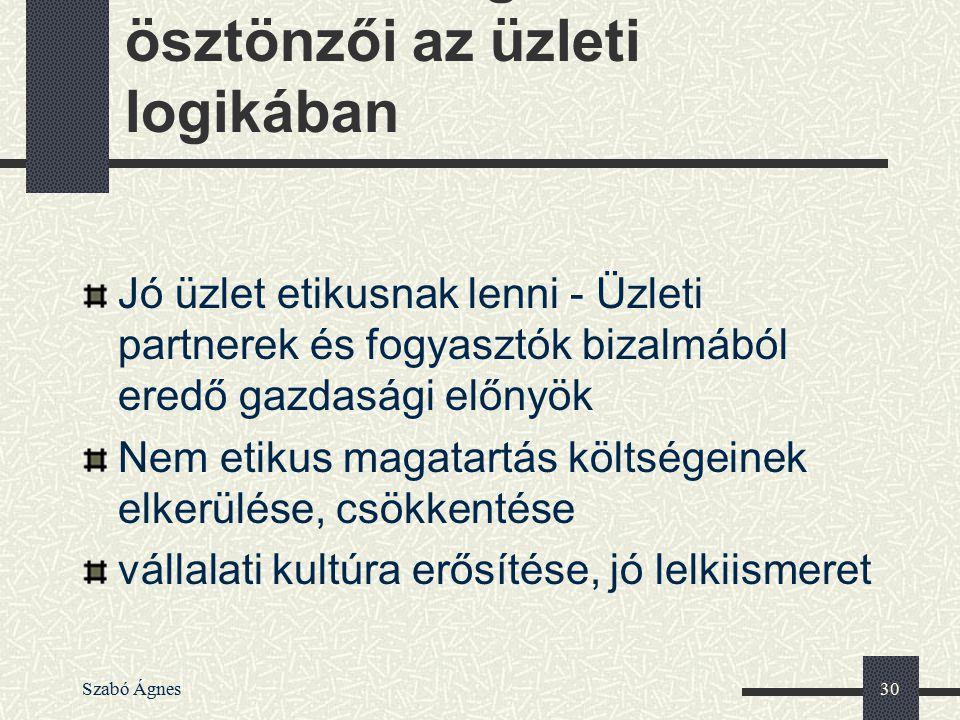 Szabó Ágnes30 Az etikus magatartás ösztönzői az üzleti logikában Jó üzlet etikusnak lenni - Üzleti partnerek és fogyasztók bizalmából eredő gazdasági