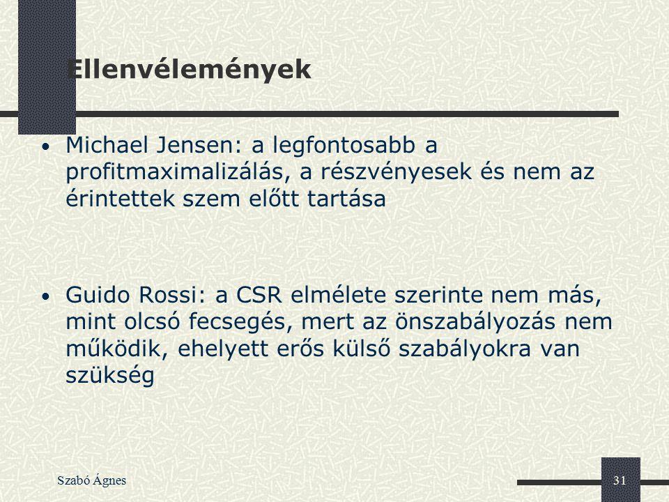 Szabó Ágnes31 Ellenvélemények Michael Jensen: a legfontosabb a profitmaximalizálás, a részvényesek és nem az érintettek szem előtt tartása Guido Rossi