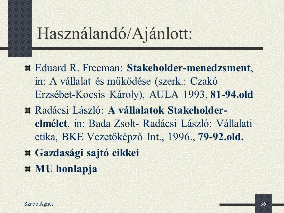 Szabó Ágnes36 Használandó/Ajánlott: Eduard R. Freeman: Stakeholder-menedzsment, in: A vállalat és működése (szerk.: Czakó Erzsébet-Kocsis Károly), AUL
