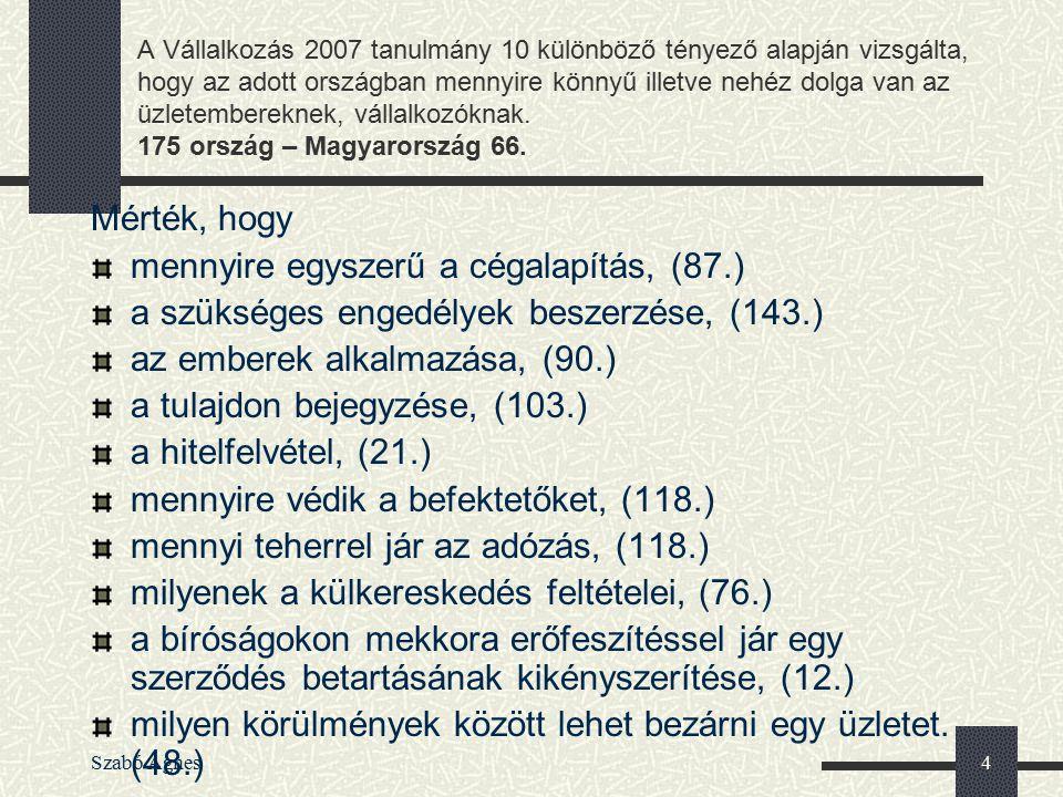 Szabó Ágnes4 A Vállalkozás 2007 tanulmány 10 különböző tényező alapján vizsgálta, hogy az adott országban mennyire könnyű illetve nehéz dolga van az ü