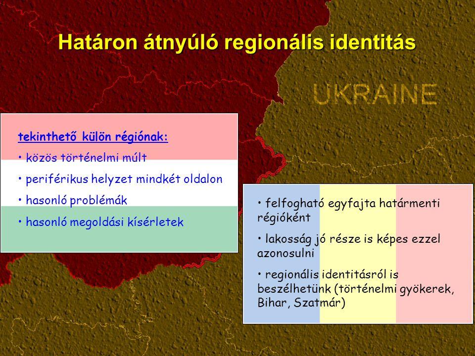 Határon átnyúló regionális identitás felfogható egyfajta határmenti régióként lakosság jó része is képes ezzel azonosulni regionális identitásról is beszélhetünk (történelmi gyökerek, Bihar, Szatmár) tekinthető külön régiónak: közös történelmi múlt periférikus helyzet mindkét oldalon hasonló problémák hasonló megoldási kísérletek