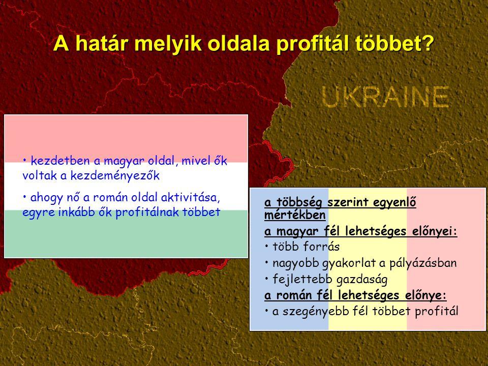 A határ melyik oldala profitál többet? a többség szerint egyenlő mértékben a magyar fél lehetséges előnyei: több forrás nagyobb gyakorlat a pályázásba