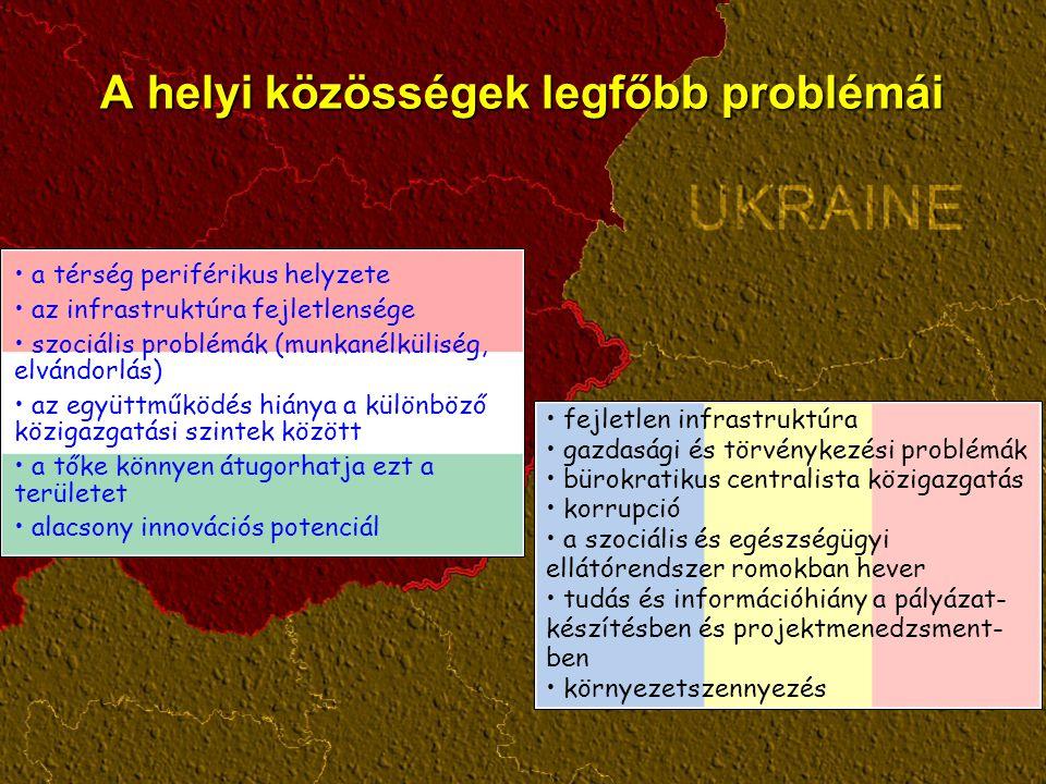A helyi közösségek legfőbb problémái fejletlen infrastruktúra gazdasági és törvénykezési problémák bürokratikus centralista közigazgatás korrupció a s