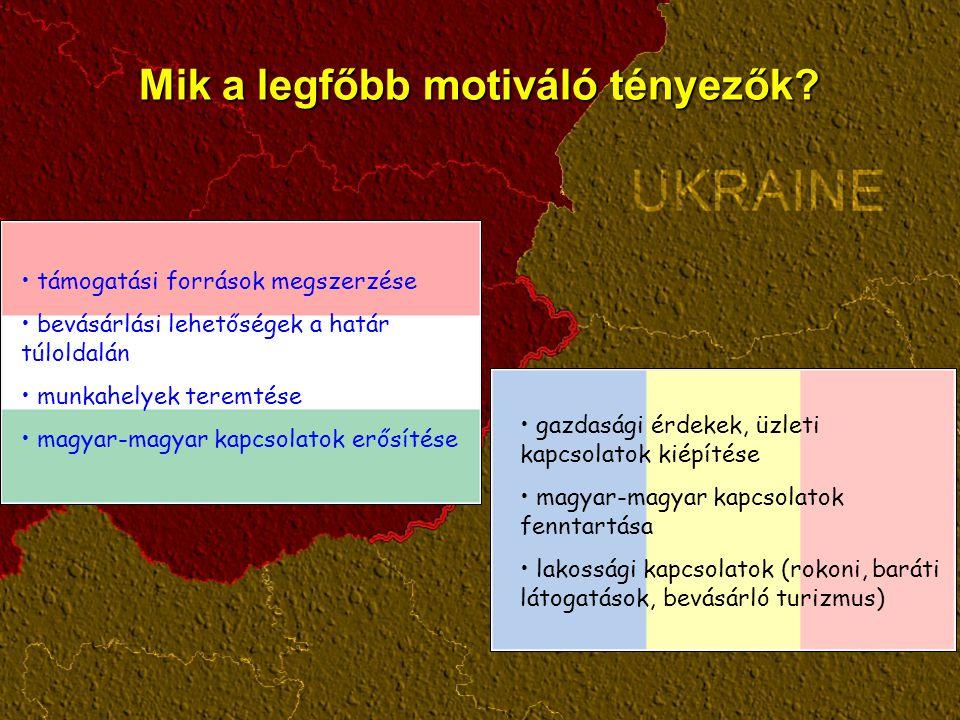 Mik a legfőbb motiváló tényezők? gazdasági érdekek, üzleti kapcsolatok kiépítése magyar-magyar kapcsolatok fenntartása lakossági kapcsolatok (rokoni,