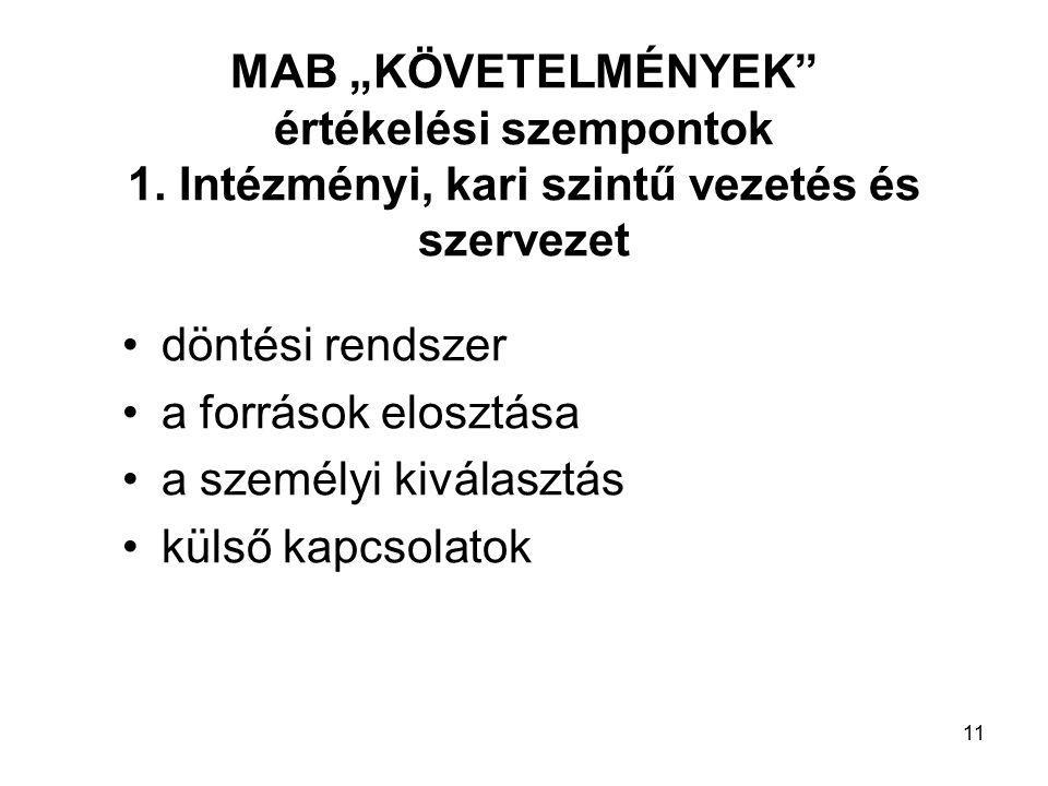 """11 MAB """"KÖVETELMÉNYEK értékelési szempontok 1."""